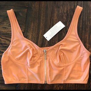 NWT Urban Outfitters Silky Peach Crop Top / Bra, L